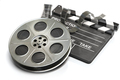 Film reel with clapper board. Video, movie and cinema production concept. - PhotoDune Item for Sale