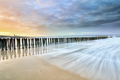 North sea waves at sunrise with long exposure - PhotoDune Item for Sale