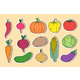 Stickers with Hand Drawn Vegetables - GraphicRiver Item for Sale