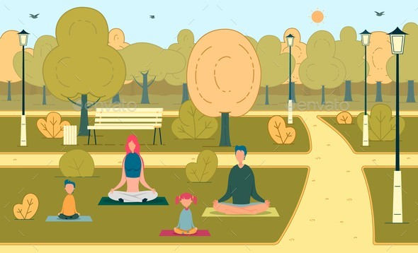 Happy Family with Kid Meditating in Green Park
