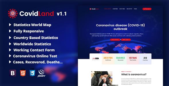 CovidLand | COVID-19 Corona Virus Medical Prevention Template