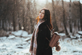 Young beautiful model posing in winter forest. stylish fashion portrait - PhotoDune Item for Sale