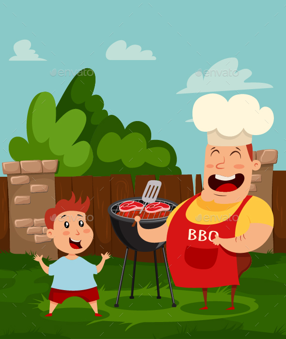 Dad and Baby. Barbecue People Vector Illustration.