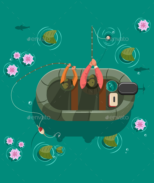 Fisherman in a Bboat on Lake Vector Illustration.