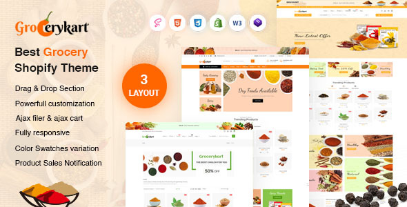 GroceryKart - Vegetable, Organic & Grocery Supermarket Responsive Shopify Theme