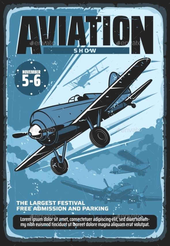 Retro Poster of Aviation Show Festival