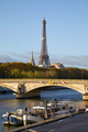 Eiffel tower, bridge and Seine river with boats in a sunny autumn day in Paris, France - PhotoDune Item for Sale