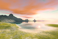 quiet place with red clouds in the dawn sky - PhotoDune Item for Sale