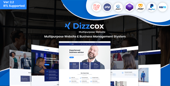 Dizzcox - Multipurpose Website  & Business Management System CMS Download