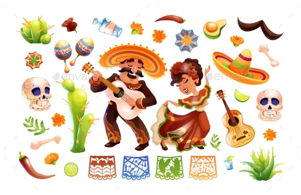 Mexican Characters and Objects Set Mexico Symbols