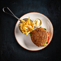 Big cheeseburger with french fries - PhotoDune Item for Sale