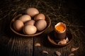 Whole and broken raw brown eggs - PhotoDune Item for Sale