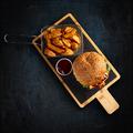 Tasty burger and golden potatoes - PhotoDune Item for Sale