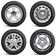 Vector Car Wheels with Rims - GraphicRiver Item for Sale