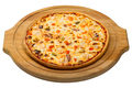 Seafood pizza on a wooden round tray - PhotoDune Item for Sale