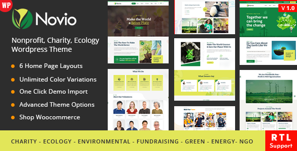 Novio – Charity Ecology WordPress Theme Preview