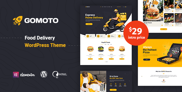 Gomoto – Food Delivery & Bottled Water WordPress Theme Preview