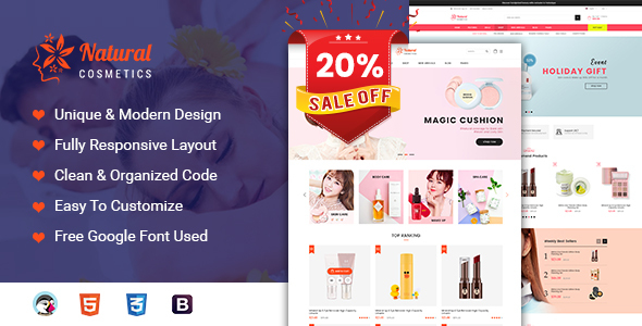 Natural - Cosmetics and Beauty Prestashop 1.7 Theme