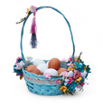 Easter basket with eggs and flower arrangement on a white background - PhotoDune Item for Sale