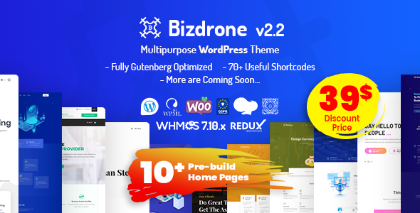 Bizdrone | ICO Crypto Landing & Cryptocurrency WordPress Theme​ with whmcs Template