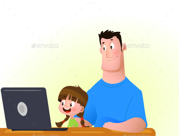 Young Girl with Father on the Computer