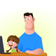 Young Girl with Father on the Computer - GraphicRiver Item for Sale