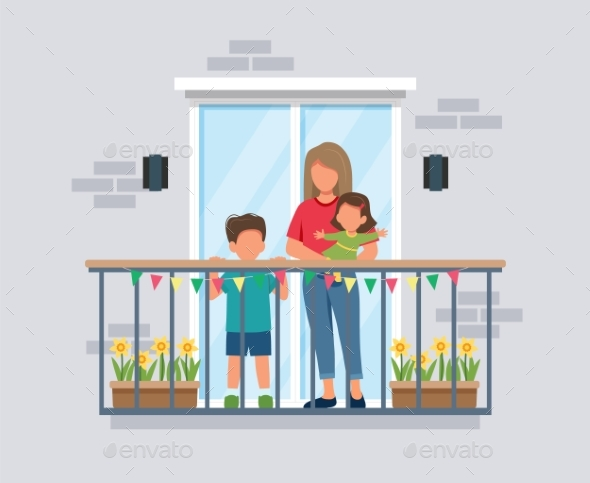 People on Balcony Mother with Kids