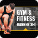 Health/Fitness Social Media Banner Set - 5 Designs - GraphicRiver Item for Sale