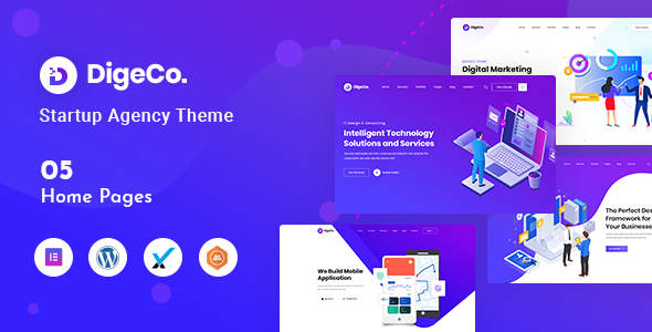 Digeco – Startup Agency WordPress Theme Preview