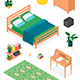Isometric Vector Furniture Collection for Bedroom - GraphicRiver Item for Sale