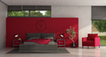 Minimalist red and gray master bedroom - PhotoDune Item for Sale