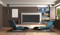 Modern living room with home cinema system - PhotoDune Item for Sale