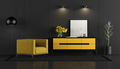 Black and yellow room with armchair and sideboard - PhotoDune Item for Sale