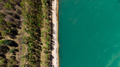 Aerial Drone View Top Down at Forest with Beach at Blue Lake Edge - PhotoDune Item for Sale