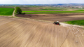 Tracktor Working in Fields at Countryside Farm. Aerial Drone View - PhotoDune Item for Sale