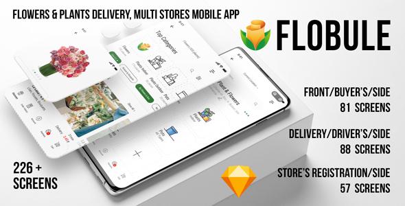 Flobule - Flowers & Plants Delivery, Multi Stores UI Kit for Mobile App