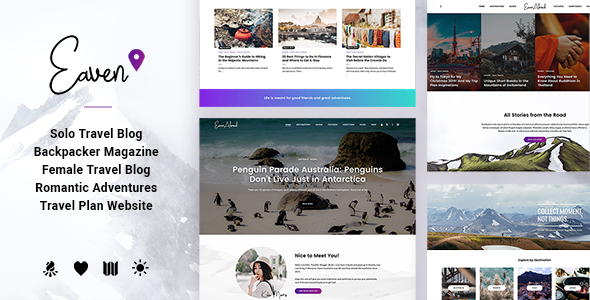 Eaven - Lifestyle & Traveller Magazine and Blog theme