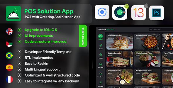Restaurant Kitchen App + Restaurant Menu App+ Restaurant POS Web App | Android+iOS | IONIC 5 Download