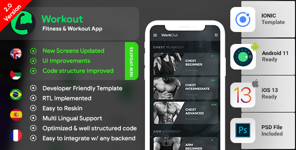 Workout Android App + Workout iOS App | Template (HTML + CSS in IONIC 3) Download