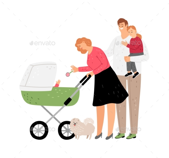 Parents with Kids Walking