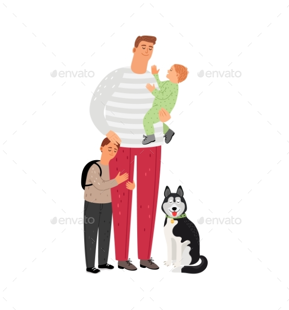 Father with Sons and Dog