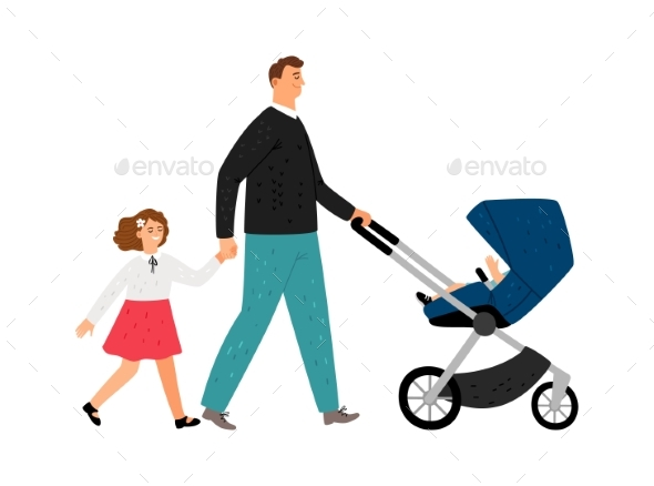 Single Father with Daughter and Baby