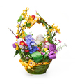 Easter basket from a flower arrangement and a hare on white background - PhotoDune Item for Sale