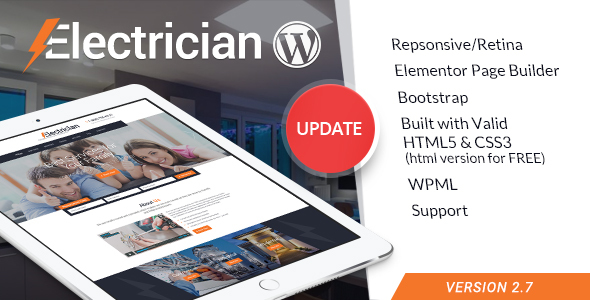 Electrician - Electricity Services WordPress Theme Download