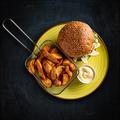 Vegetarian burger and golden potatoes - PhotoDune Item for Sale
