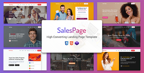 SalesPage - Landing Page Template for Creative Agencies, Apps, Portfolio Websites & Small Businesses