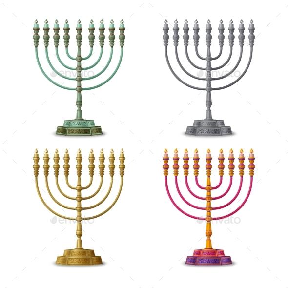 Gold Colored, Multicolored and Silver Hanukkah
