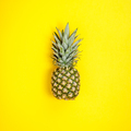 Pineapple on yellow background. Summer concept. Flat lay - PhotoDune Item for Sale