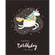 Text Happy Birthday and Unicorn on Black Background - GraphicRiver Item for Sale