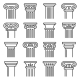 Ancient Columns Icon Set Line Style Vector - GraphicRiver Item for Sale